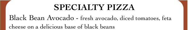 Black Bean Avocado Pizza